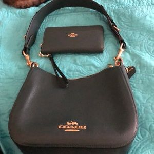 COACH dk green pebble leather bag & wallet